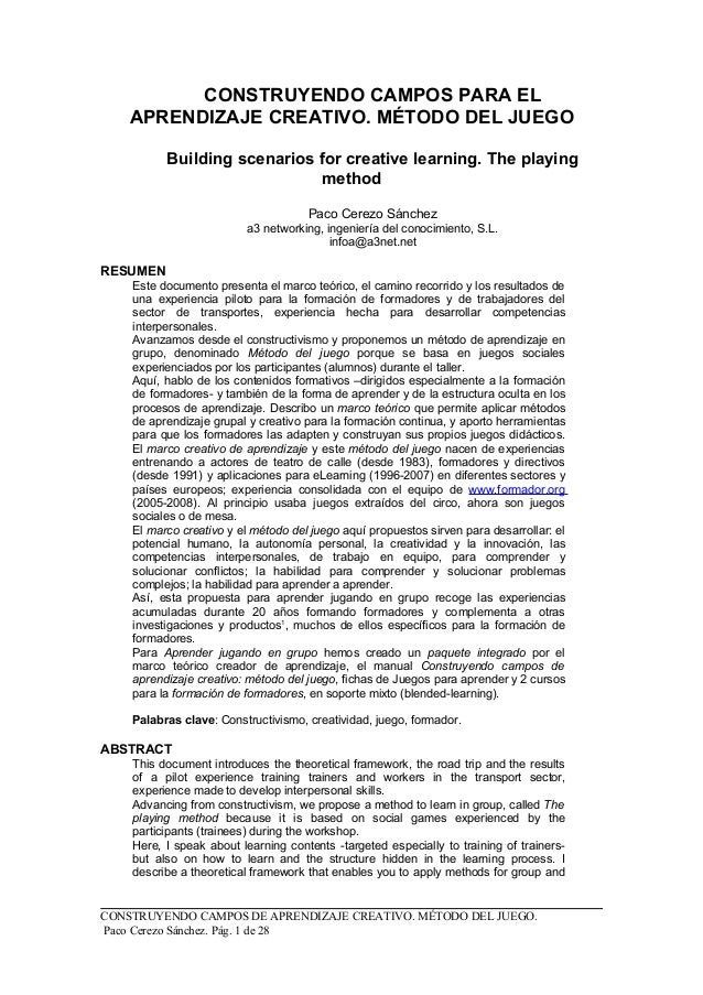 CONSTRUYENDO CAMPOS PARA EL APRENDIZAJE CREATIVO. MÉTODO DEL JUEGO Building scenarios for creative learning. The playing m...