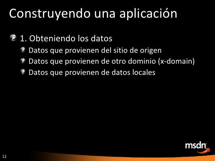 Construyendo una aplicación <ul><li>1. Obteniendo los datos </li></ul><ul><ul><li>Datos que provienen del sitio de origen ...