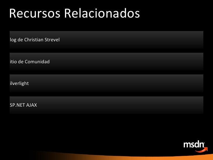 Recursos Relacionados <ul><li>Blog de Christian Strevel </li></ul><ul><li>http://team.intellekt.ws/blogs/chris/ </li></ul>...