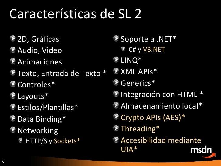 Características de SL 2 <ul><li>Soporte a .NET* </li></ul><ul><ul><li>C# y  VB.NET </li></ul></ul><ul><li>LINQ* </li></ul>...