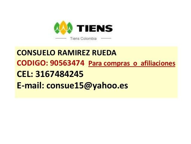 CONSUELO RAMIREZ RUEDACODIGO: 90563474 Para compras o afiliacionesCEL: 3167484245E-mail: consue15@yahoo.es
