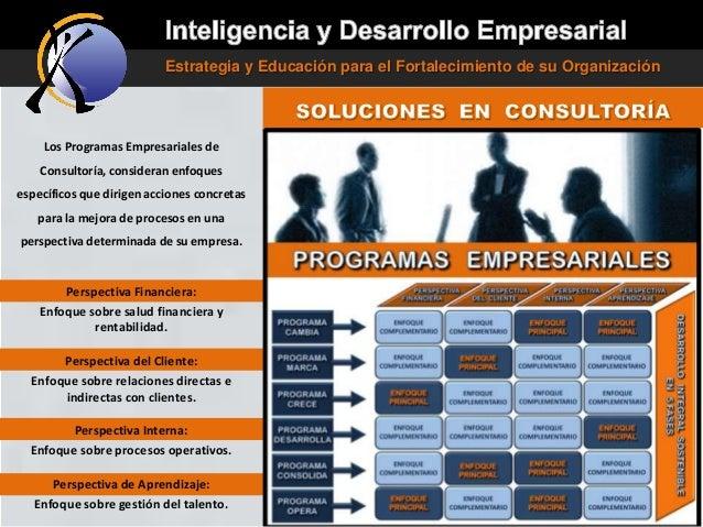 Estrategia y Educación para el Fortalecimiento de su Organización  Los Programas Empresariales de Consultoría, consideran ...