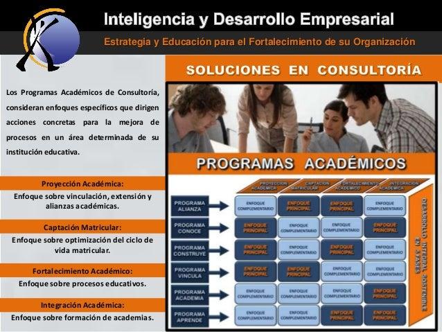 Estrategia y Educación para el Fortalecimiento de su Organización  Los Programas Académicos de Consultoría, consideran enf...