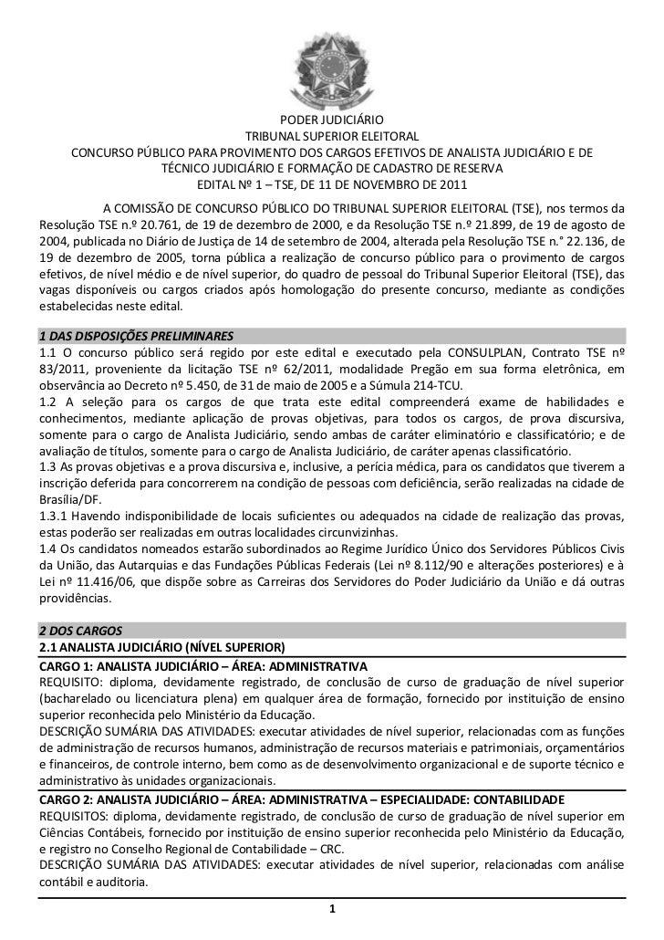 PODER JUDICIÁRIO                               TRIBUNAL SUPERIOR ELEITORAL     CONCURSO PÚBLICO PARA PROVIMENTO DOS CARGOS...
