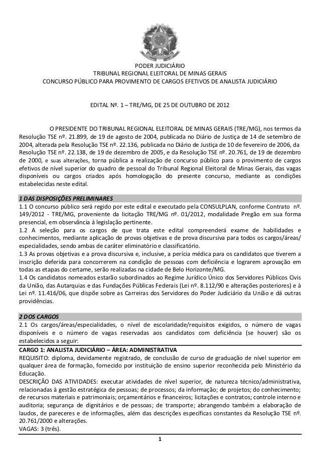 PODER JUDICIÁRIO                        TRIBUNAL REGIONAL ELEITORAL DE MINAS GERAIS         CONCURSO PÚBLICO PARA PROVIMEN...