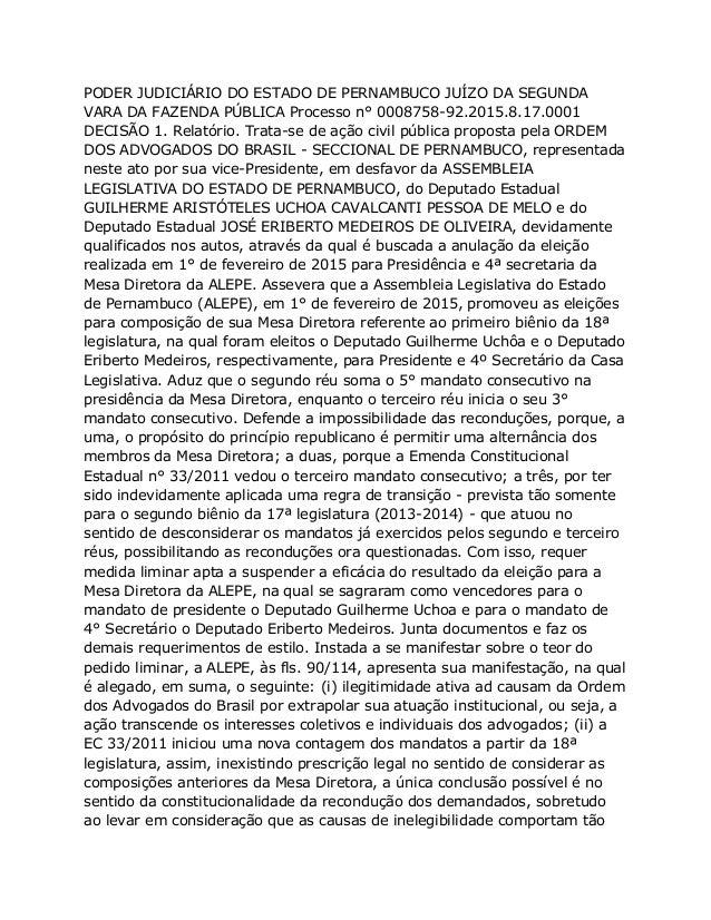 PODER JUDICIÁRIO DO ESTADO DE PERNAMBUCO JUÍZO DA SEGUNDA VARA DA FAZENDA PÚBLICA Processo n° 0008758-92.2015.8.17.0001 DE...