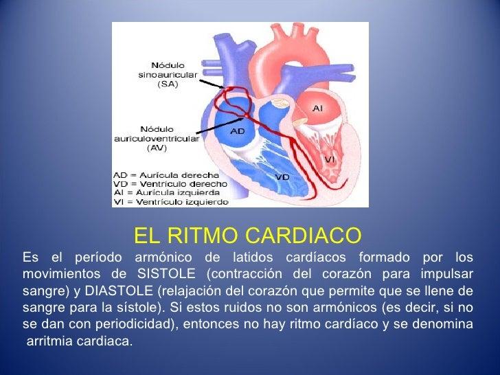 EL RITMO CARDIACO Es el período armónico de latidos cardíacos formado por los movimientos de SISTOLE (contracción del cora...