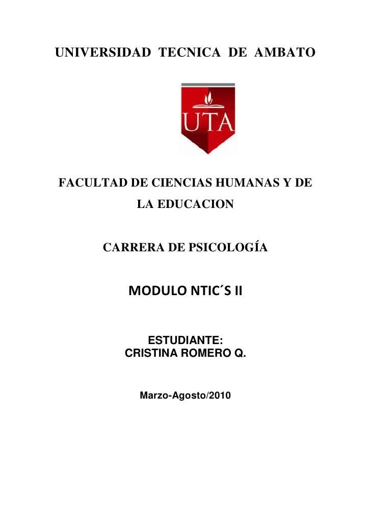 UNIVERSIDAD  TECNICA  DE  AMBATO<br />2567940271780<br />FACULTAD DE CIENCIAS HUMANAS Y DE LA EDUCACION<br />CARRERA DE PS...