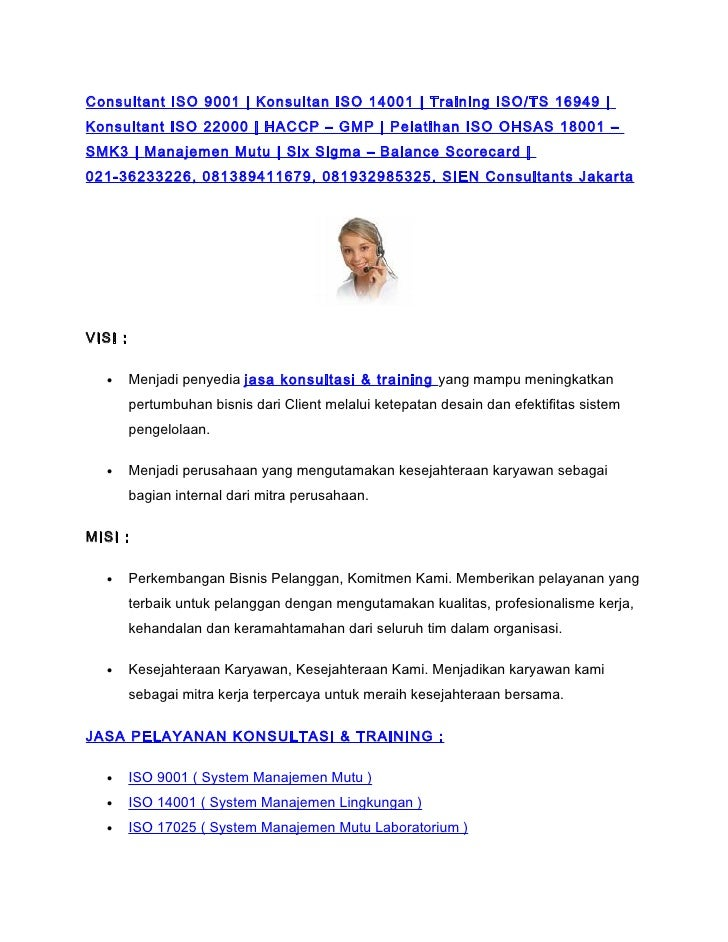 Consultant ISO 9001 | Konsultan ISO 14001 | Training ISO/TS 16949 | Konsultant ISO 22000 | HACCP – GMP | Pelatihan ISO OHS...
