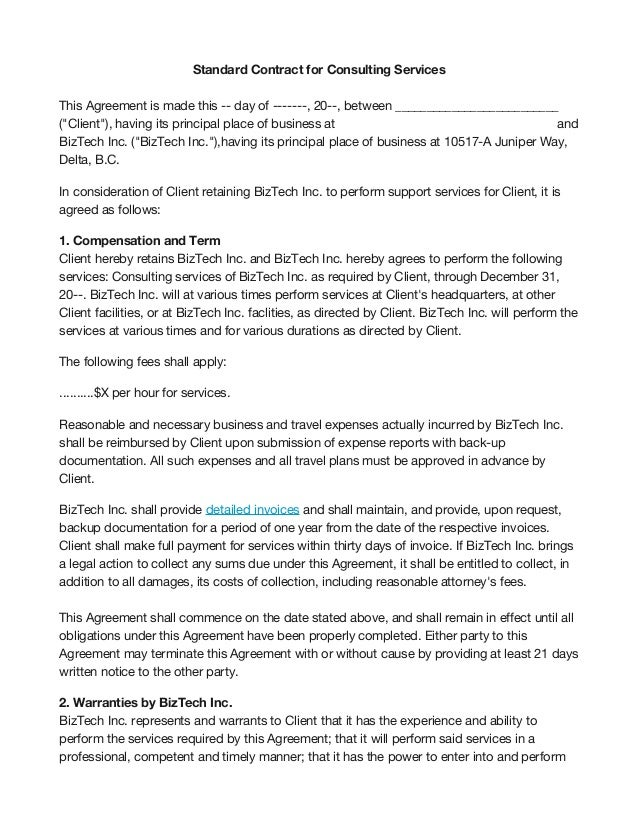 Consultant Contract Template. Simple Consulting Agreement Template ...