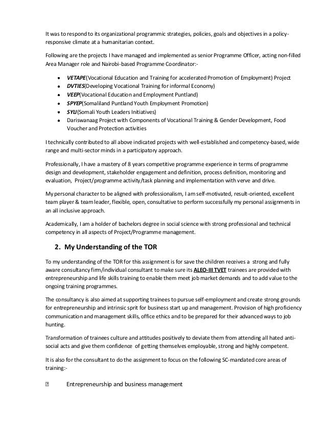 Consultantu0027s Technical U0026 Financial Proposal