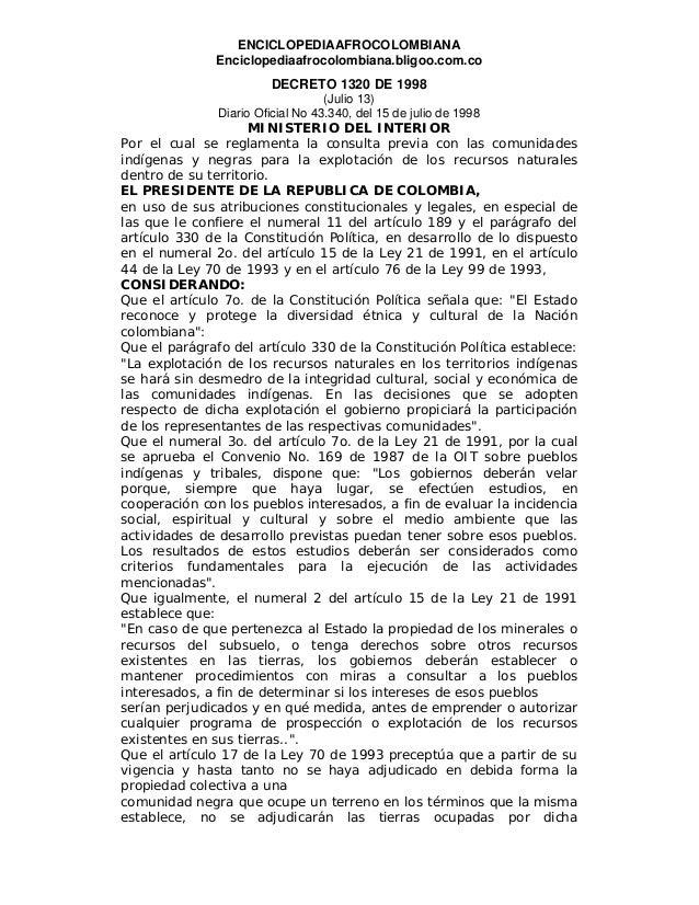 ENCICLOPEDIAAFROCOLOMBIANA Enciclopediaafrocolombiana.bligoo.com.co DECRETO 1320 DE 1998 (Julio 13) Diario Oficial No 43.3...