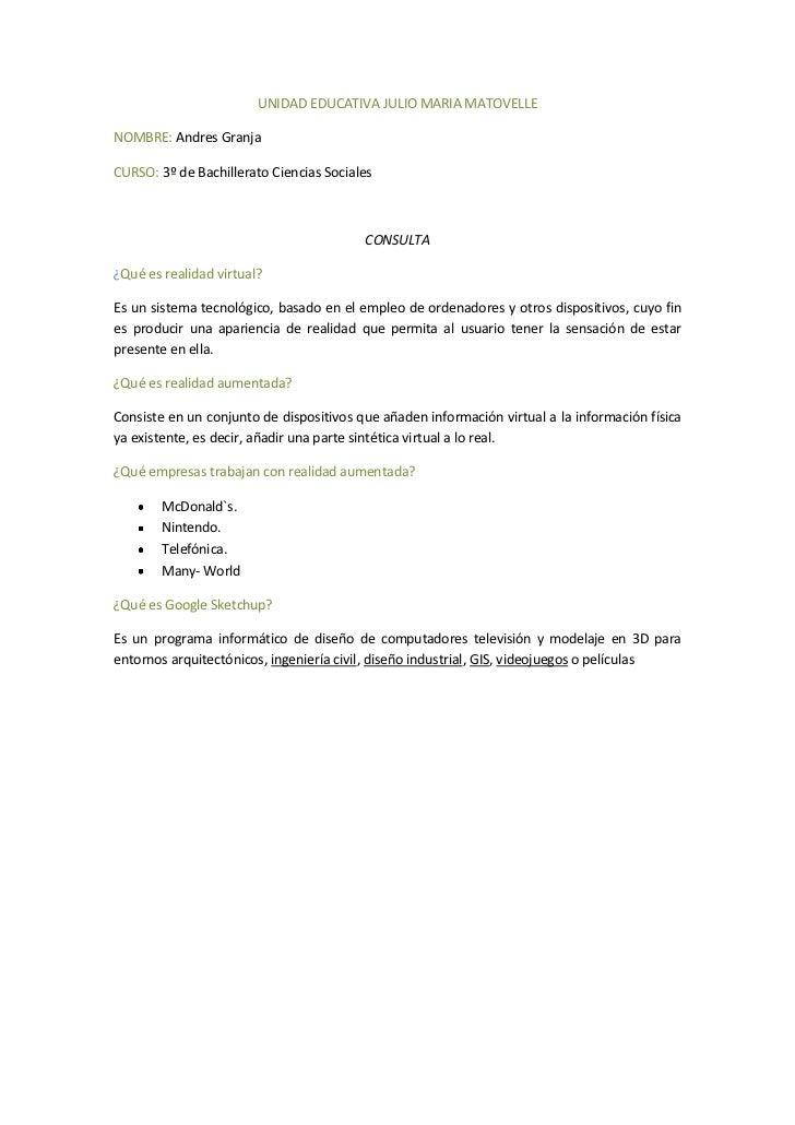 UNIDAD EDUCATIVA JULIO MARIA MATOVELLENOMBRE: Andres GranjaCURSO: 3º de Bachillerato Ciencias Sociales                    ...