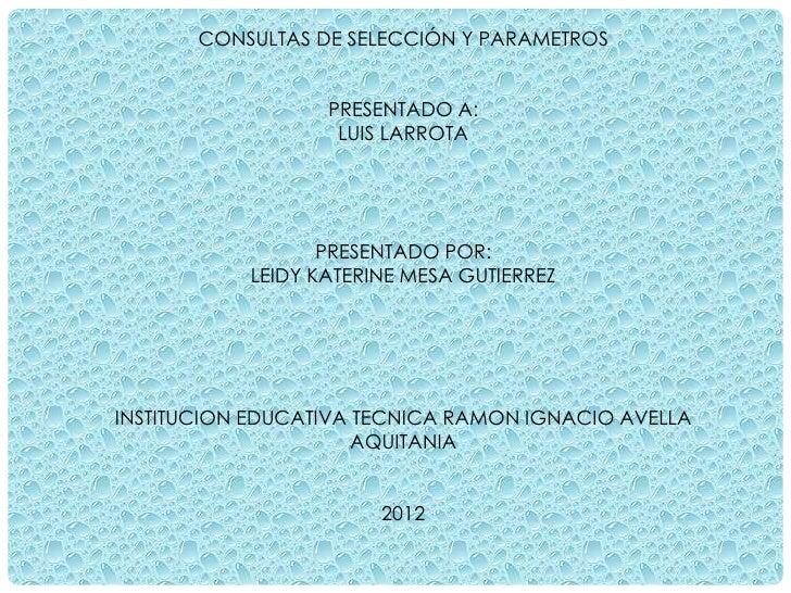 CONSULTAS DE SELECCIÓN Y PARAMETROS                  PRESENTADO A:                   LUIS LARROTA                  PRESENT...