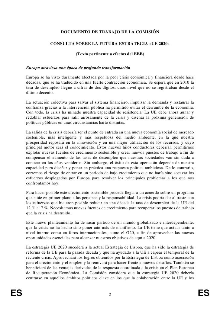 Consulta sobre la futura estrategia ue 2020 for Consulta demanda de empleo
