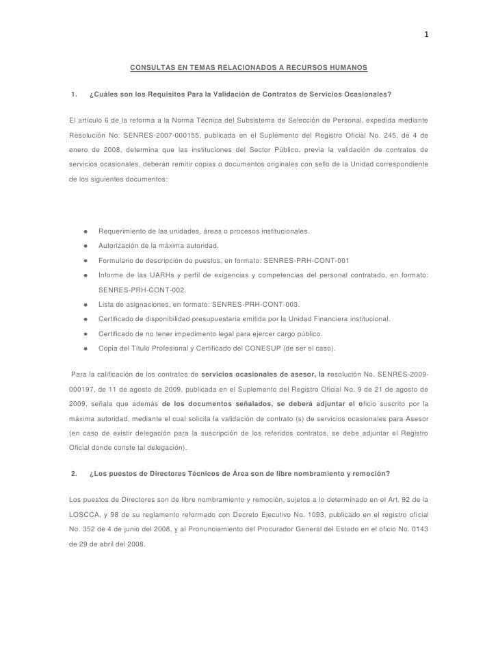 CONSULTAS EN TEMAS RELACIONADOS A RECURSOS HUMANOS<br />1. ¿Cuáles son los Requisitos Para la Validación de Contrato...