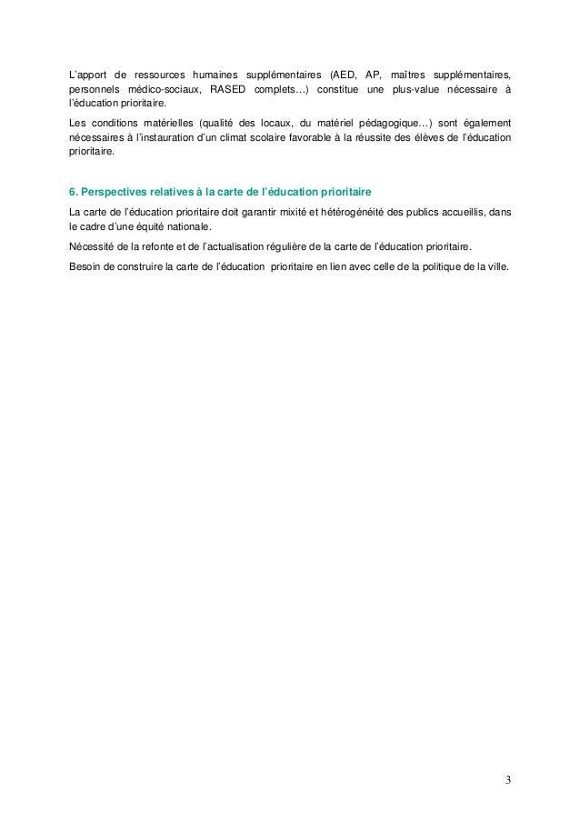 3 L'apport de ressources humaines supplémentaires (AED, AP, maîtres supplémentaires, personnels médico-sociaux, RASED comp...