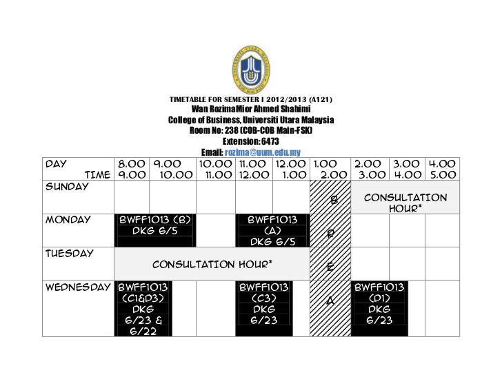 TIMETABLE FOR SEMESTER I 2012/2013 (A121)                          Wan RozimaMior Ahmed Shahimi                    College...