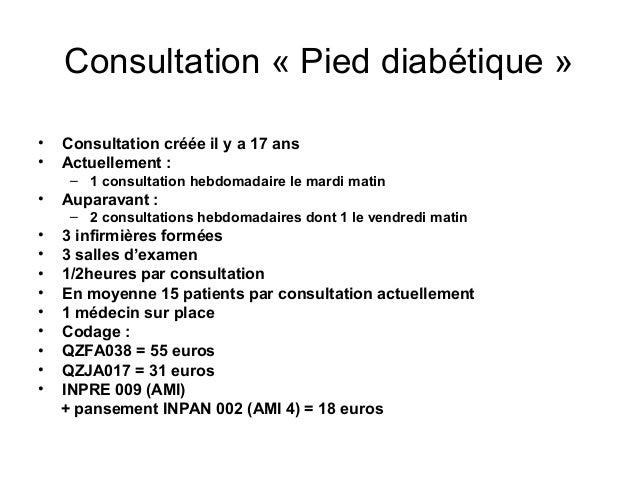 Consultation « Pied diabétique »•   Consultation créée il y a 17 ans•   Actuellement :     – 1 consultation hebdomadaire l...