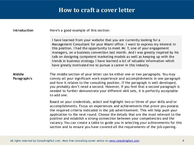3 4 how to craft a cover letter - Cover Letter Management Consulting