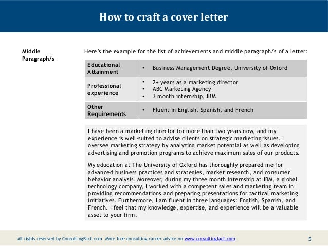 4 5 how to craft a cover letter - Management Consulting Cover Letter Samples
