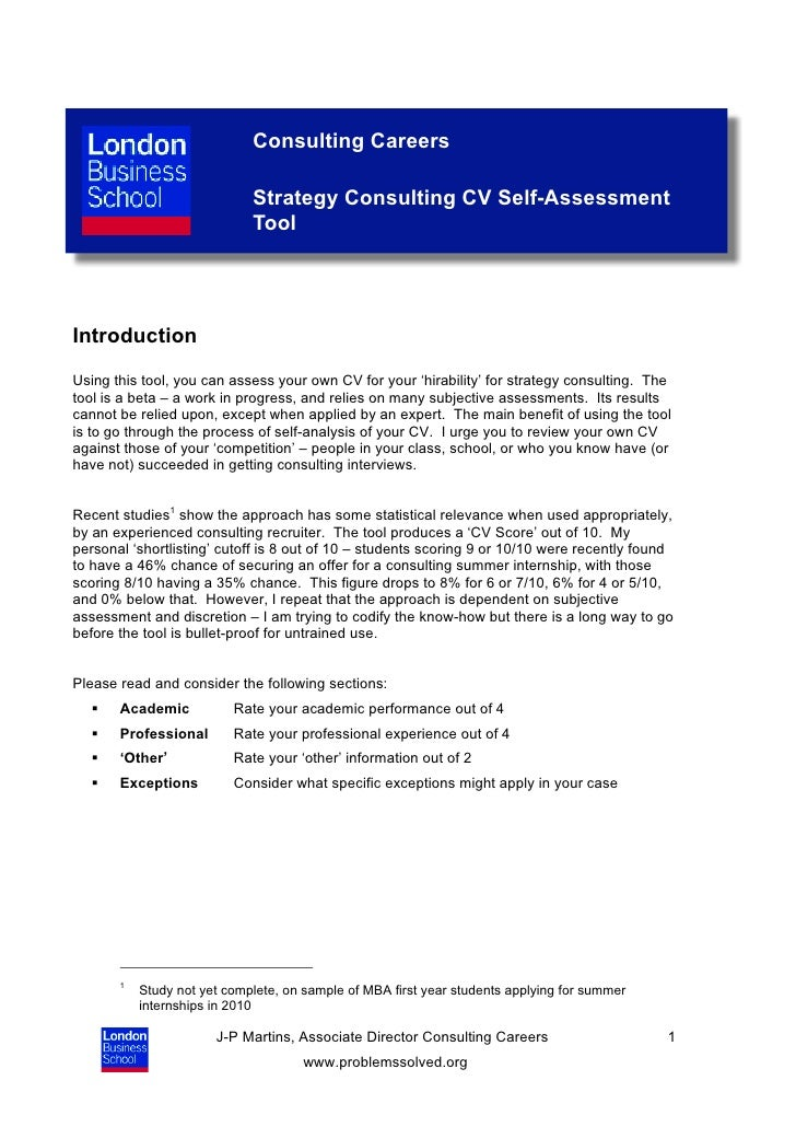 consulting cv scoring self assessment guide 26 02 10