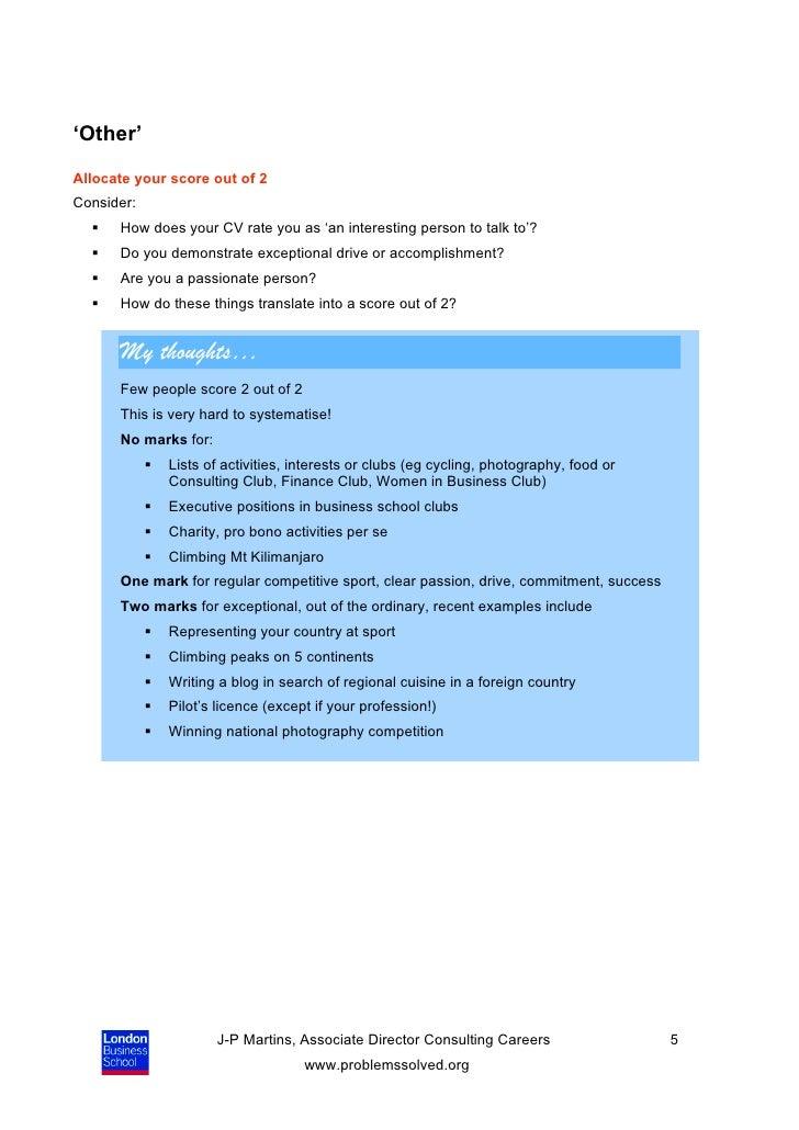consulting cv scoring self assessment guide 26 02 10