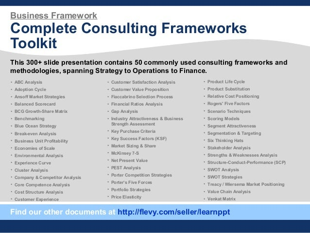 Business Framework Complete Consulting Frameworks Toolkit This 300+ slide presentation contains 50 commonly used consultin...