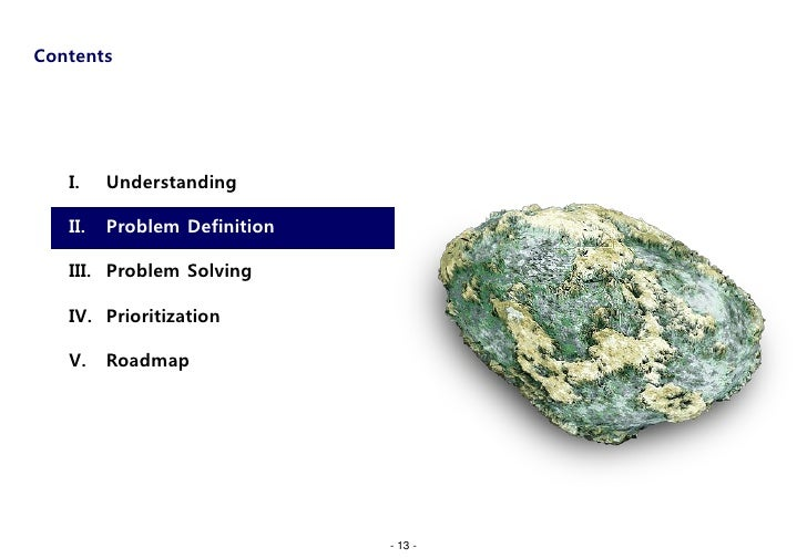Contents   I.    Understanding   II.   Problem Definition   III. Problem Solving   IV. Prioritization   V.    Roadmap     ...