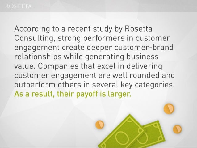 Rosetta Consulting Study Shows That Customer Engagement Increases Market Share and Drives Revenue Growth Slide 2