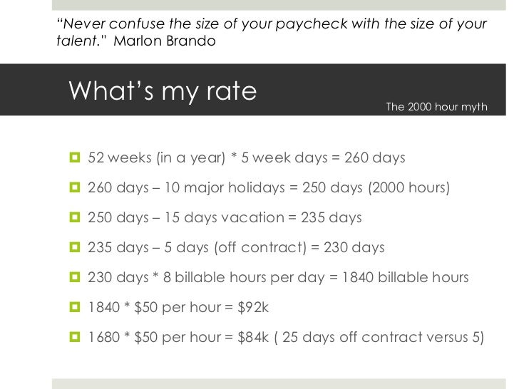 What's my rate<br />52 weeks (in a year) * 5 week days = 260 days<br />260 days – 10 major holidays = 250 days (2000 hours...