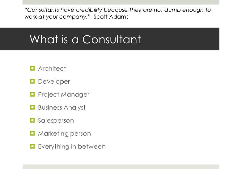 What is a Consultant<br />Architect<br />Developer<br />Project Manager<br />Business Analyst<br />Salesperson<br />Market...