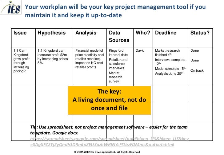 Consulting Toolkit Creating A Workplan