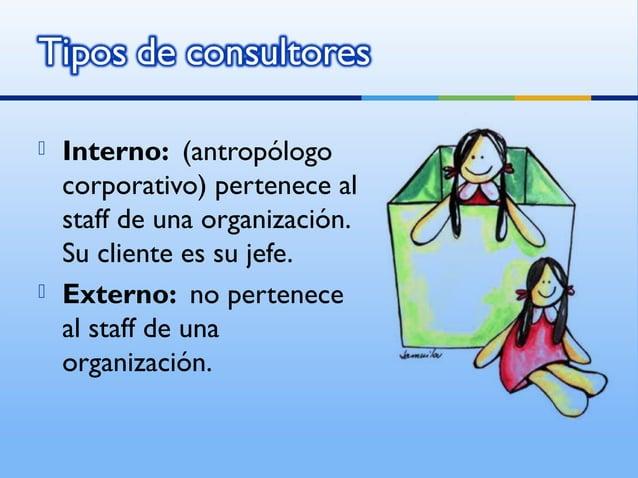    Interno: (antropólogo    corporativo) pertenece al    staff de una organización.    Su cliente es su jefe.   Externo:...