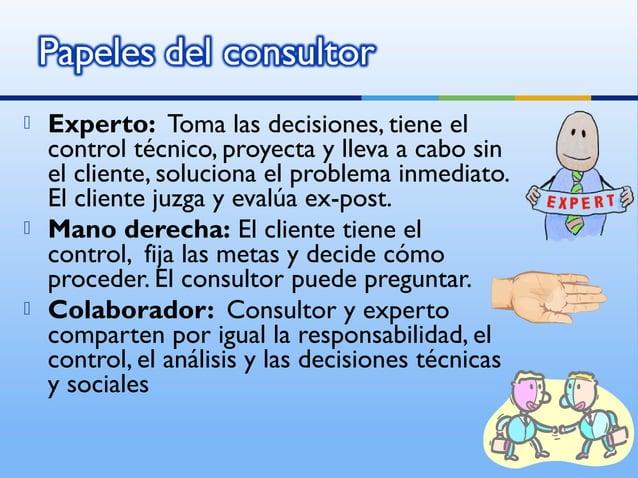    Experto: Toma las decisiones, tiene el    control técnico, proyecta y lleva a cabo sin    el cliente, soluciona el pro...
