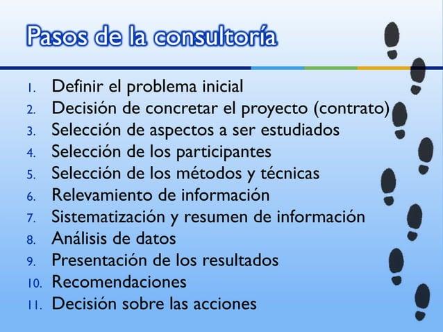 1.    Definir el problema inicial2.    Decisión de concretar el proyecto (contrato)3.    Selección de aspectos a ser estud...