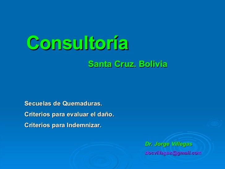 Consultoría Santa Cruz. Bolivia Secuelas de Quemaduras. Criterios para evaluar el daño.  Criterios para Indemnizar. Dr. Jo...