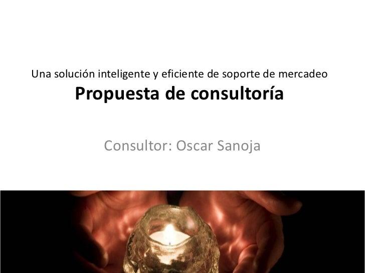 Una solución inteligente y eficiente de soporte de mercadeo        Propuesta de consultoría              Consultor: Oscar ...