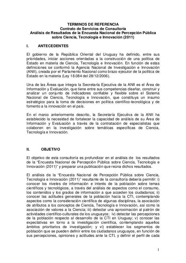TERMINOS DE REFERENCIA                      Contrato de Servicios de Consultoría      Análisis de Resultados de la Encuest...