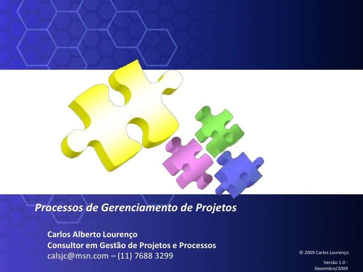 Processos de Gerenciamento de Projetos<br />Carlos Alberto Lourenço<br />Consultor em Gestão de Projetos e Processos<br />...