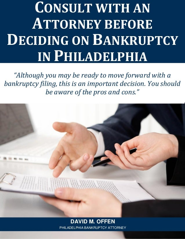 """""""Although you may be ready to move forward with a bankruptcy filing, this is an important decision. You should be aware of..."""