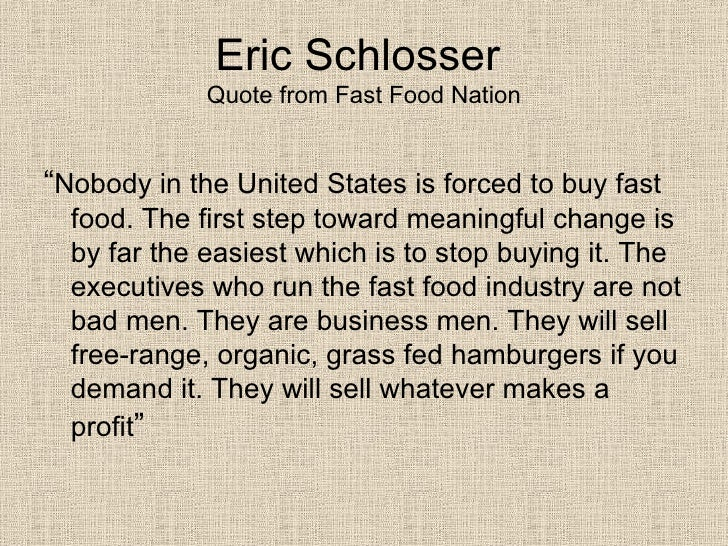 essay on fast food nation by eric schlosser