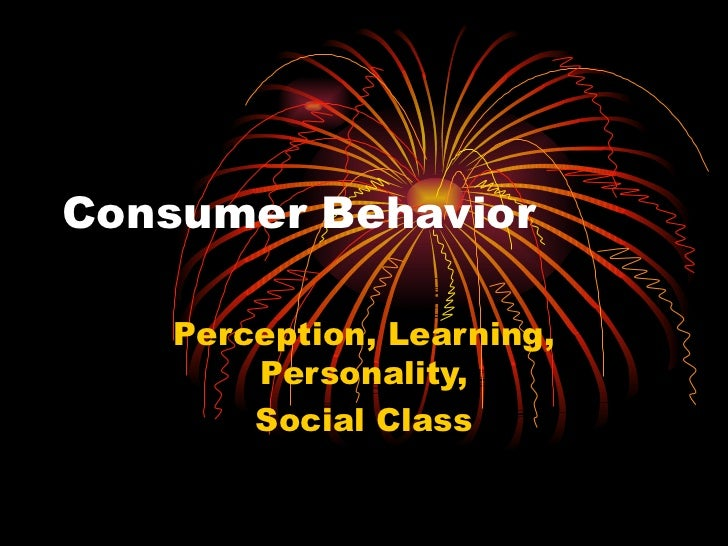 Consumer Behavior Perception, Learning, Personality, Social Class