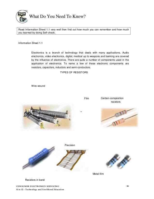 Consumer electronics-servicing-learning-module