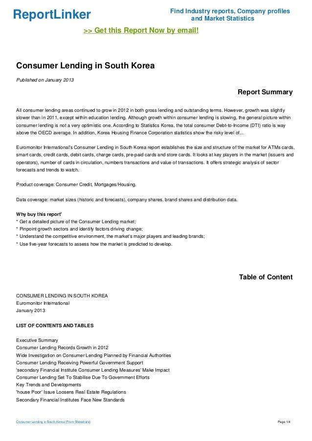Consumer Lending in South Korea