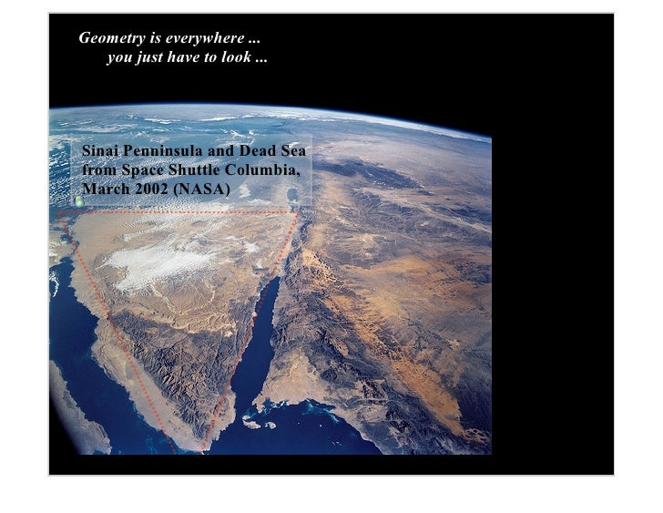 Geometry is everywhere ...    you just have to look ...     Sinai Penninsula and Dead Sea from Space Shuttle Columbia, Mar...