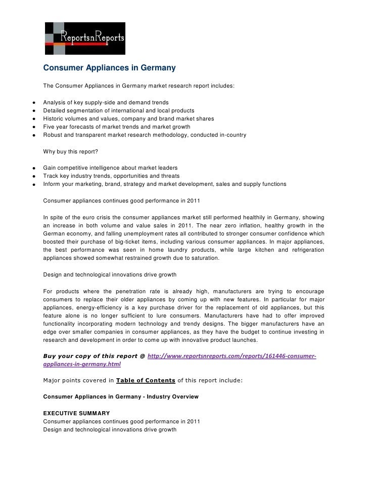 Consumer Appliances in GermanyThe Consumer Appliances in Germany market research report includes:Analysis of key supply-si...