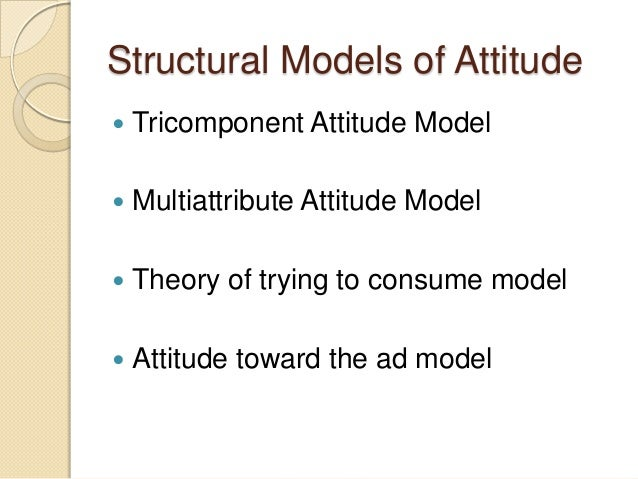 Structural Models of Attitude  Tricomponent Attitude Model  Multiattribute Attitude Model  Theory of trying to consume ...