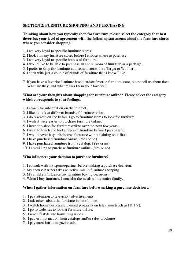 . Consumer attitudes and buying behavior for home furniture