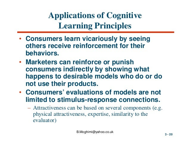 behaviorist and cognitive approaches to consumer learning theory Relate involvement theory to consumer behavior use key terms behavioral learning theory and cognitive learning theory as indicated in the chapter, behavioral learning theories are sometimes referred to as stimulus-response theories because they are based on the premise that.